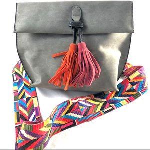 Grey faux suede tassel crossbody bag